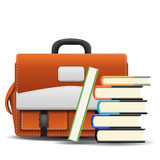 School bag with books. On white background Royalty Free Stock Photography