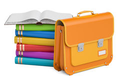 School bag, briefcase with books. 3D rendering Stock Image