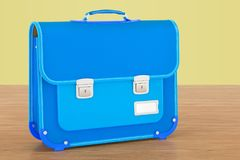 School bag, briefcase on the woden background, 3D rendering. School bag, briefcase on the woden background, 3D Stock Image
