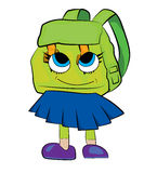 School bag cartoon. Vector illustration of school bag girl cartoon Stock Photography