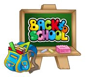 School bag and chalkboard Stock Photography