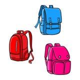 School bag design, vector icon. School bag design vector template, illustration bag full color icon set royalty free illustration