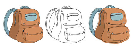 School bag in 3 different styles. Color, contour, cartoon Stock Images