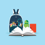 School bag with education objects. Royalty Free Stock Photography