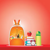 School bag with education objects. Royalty Free Stock Image