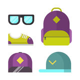 School bag and fashion accessory icons vector illustration . Stock Image