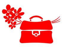 School bag and flowers. Red school bag and blue flowers bouquet on a white background Royalty Free Stock Photo