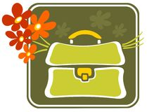 School bag with flowers Stock Image