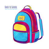 School bag. Hand drawn vector illustration of School bag Stock Photos