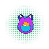 School bag icon in comics style. On a white background Stock Photo
