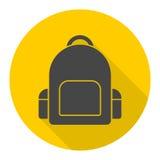 School bag icon with long shadow. Vector icon Stock Photos
