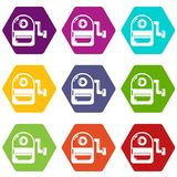 School bag icons set 9 vector. School bag icons 9 set coloful isolated on white for web Stock Photos