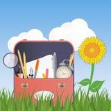 School bag. Illustration of school bag on grass with flower Stock Photo
