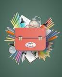 School bag. Illustration of school bag with object school Stock Image