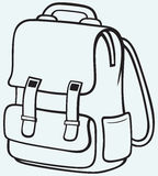 School bag. Isolated on blue background Stock Photos