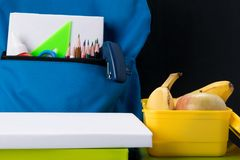 School bag with items for creativity and lunch box royalty free stock photo
