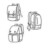 School bag outline, vector illustrations. Outline vector design of school bags, vector template bag design illustrations royalty free illustration