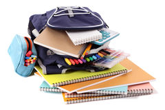 School bag, pencil case, equipment, supplies, isolated on white background Stock Image