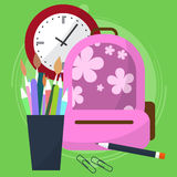 School bag with a pencil case in which the pens and pencils. Watch that show how much is left before the end of the lesson. Back t Royalty Free Stock Images