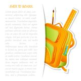 School Bag with Pencil and Ruler. Vector illustration of colorful school bag with pencil and ruler Stock Photography