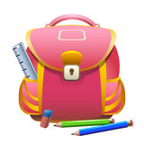 School bag and pencils Royalty Free Stock Images