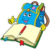 School bag reading book. Vector illustration Stock Photography