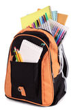 School bag, satchel, full with books and equipment, isolated on white Stock Photography