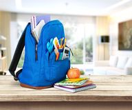 School bag. School table backpack bag pack back stock image