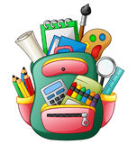 School bag with school supplies. Illustration of School bag with school supplies Royalty Free Stock Photos