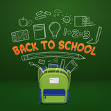 School Bag and School supplies outline Royalty Free Stock Photos
