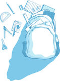 School Bag with School Supplies Scattered Around vector illustration