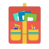 School bag with school supplies Royalty Free Stock Image