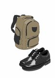 School bag and shoes. School bag and black shoes on a white background Royalty Free Stock Photo