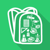 School bag silhouette with shade style flat. On a green background Stock Photos