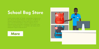 School Bag Store. Two Sellers Offering Backpacks. School Bag Store banner. Seller near white table offering some modern backpacks. Yellow and orange backgrounds Stock Photography