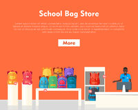 School Bag Store. Two Sellers Offering Backpacks. School Bag Store banner. Seller near white table offering some modern backpacks. Yellow and orange backgrounds Royalty Free Stock Photography