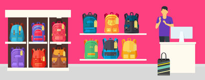 School Bag Store. Two Sellers Offering Backpacks. School Bag Store banner. Seller near white table offering some modern backpacks. Yellow and orange backgrounds Stock Photo