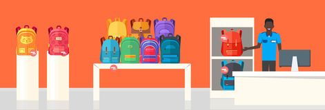 School Bag Store. Two Sellers Offering Backpacks. School Bag Store banner. Seller near white table offering some modern backpacks. Yellow and orange backgrounds Royalty Free Stock Image