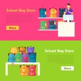School Bag Store. Two Sellers Offering Backpacks Stock Image