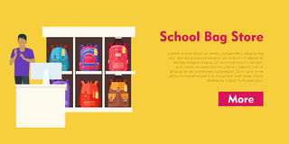 School Bag Store. Two Sellers Offering Backpacks Stock Photos