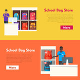 School Bag Store. Two Sellers Offering Backpacks. School Bag Store banners set. Seller near white table offering some modern backpacks. Yellow and orange Stock Photos