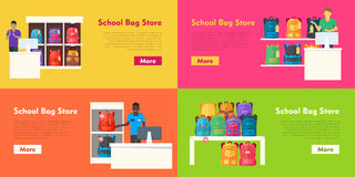 School Bag Store Vector Set. Seller at the Counter. School bag store vector set. Seller at counter propose teenage bags. Backpacks on the shelves. Sale of Royalty Free Stock Images