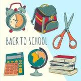 School bag and stuff. School year beginning. Education design elements. royalty free illustration