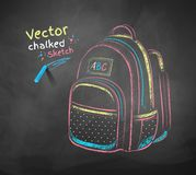 School bag. Vector color chalk drawing of school bag Royalty Free Stock Photo