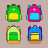 School bag vector illustration. Colorful school bag vector icon. Stock Images