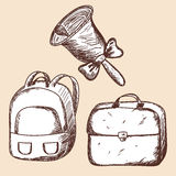 School bags and bell sketch. Stock Photo