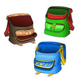 School bags. Open roomy bag for school subjects and textbooks. Models comfortable backpack. Vector Stock Photography