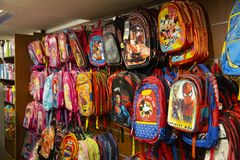 School bags store best asian india cartoon Bags. Shopping royalty free illustration