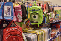 School bags in the store Stock Photo