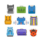 School bags vector isolated. Kids school bags isolated on white background. Cartoon style school bags handle strap sack, textile rucksack. School bags children Stock Image